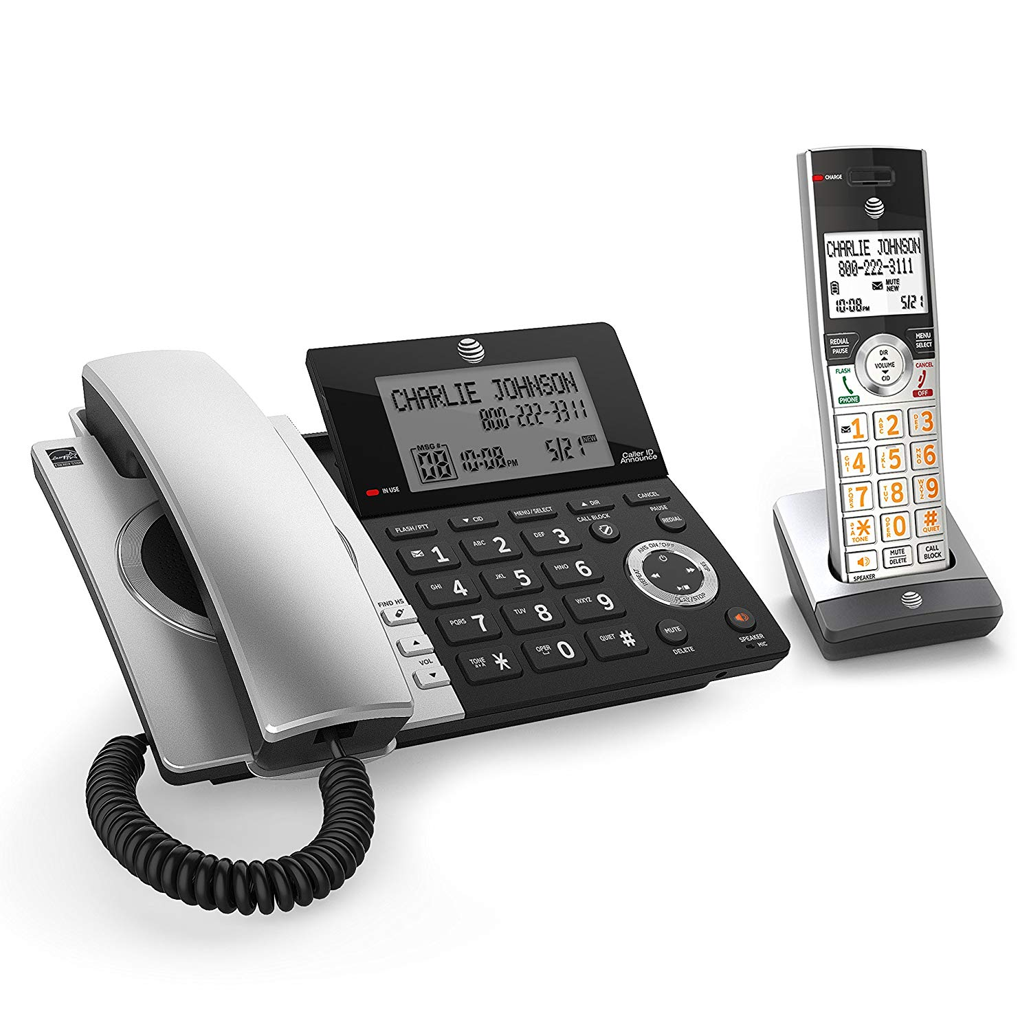 AT&T CL84107 DECT 6.0 Expandable CordedCordless Phone with Smart Call Blocker