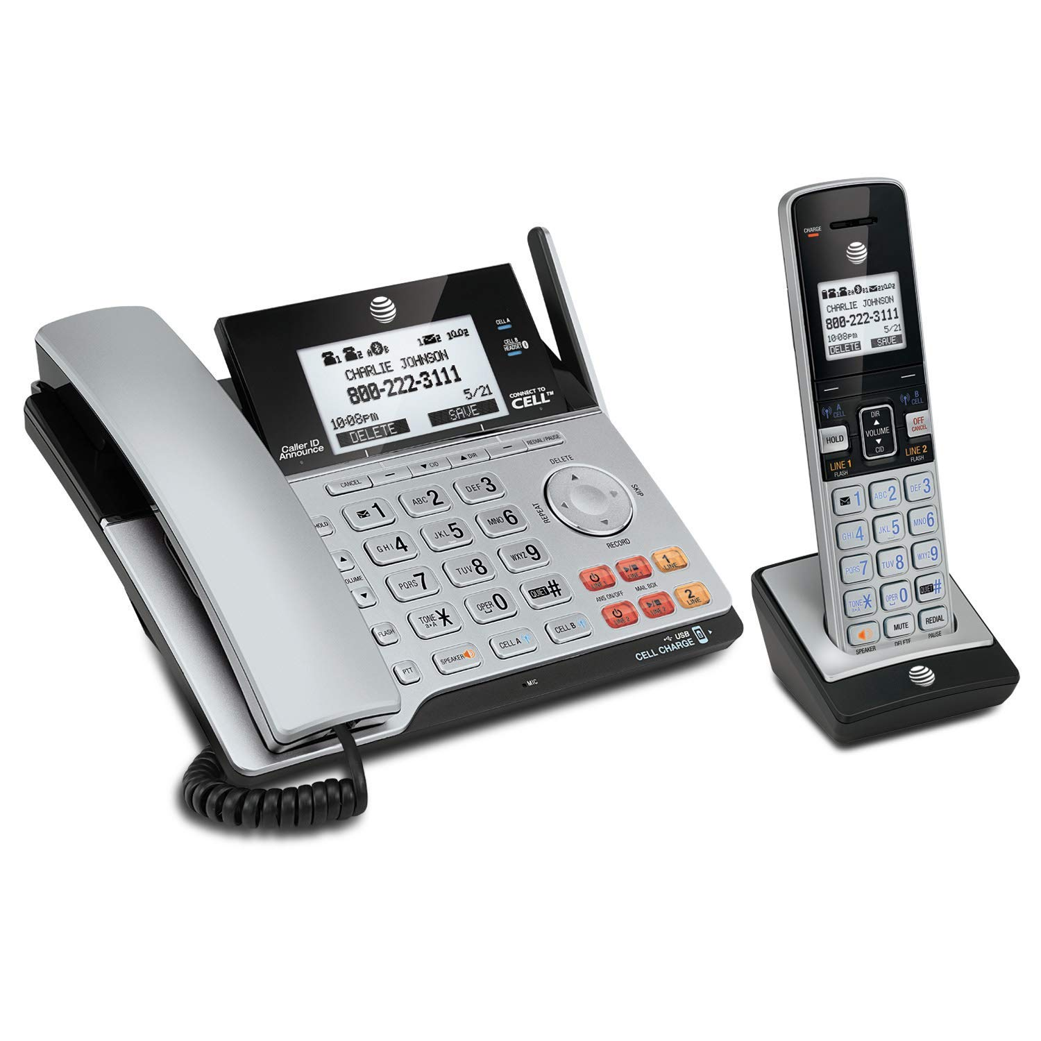 AT&T TL86103 DECT 6.0 Connect to Cell 2 Line Answering System with Caller IDCall Waiting