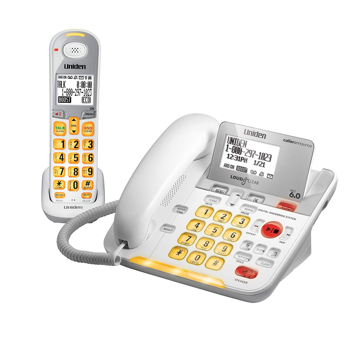 D3098 DECT 6.0 Expandable CordedCordless Phone withCaller ID and Answering System