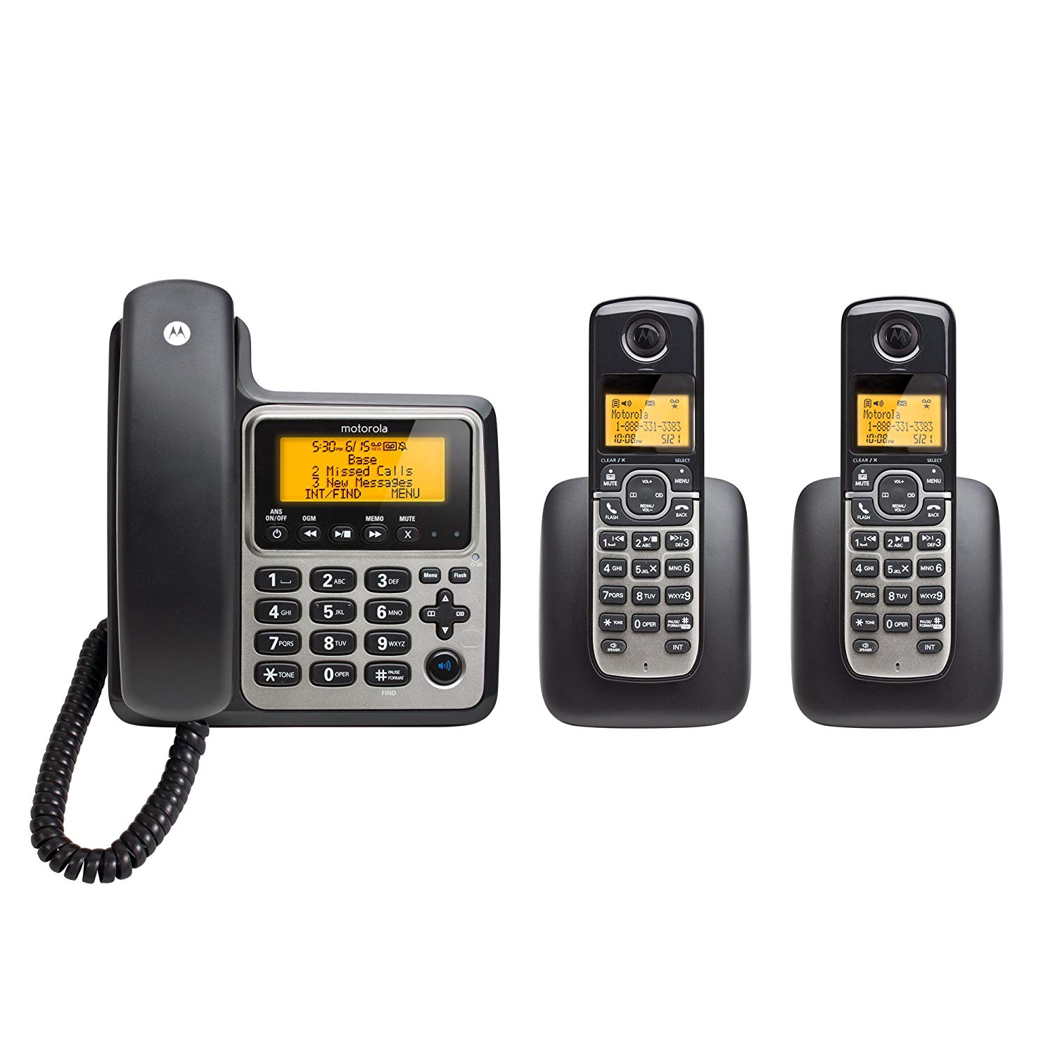 Motorola DECT 6.0 Corded Base Phone with 2 Cordless Handsets and Answering System