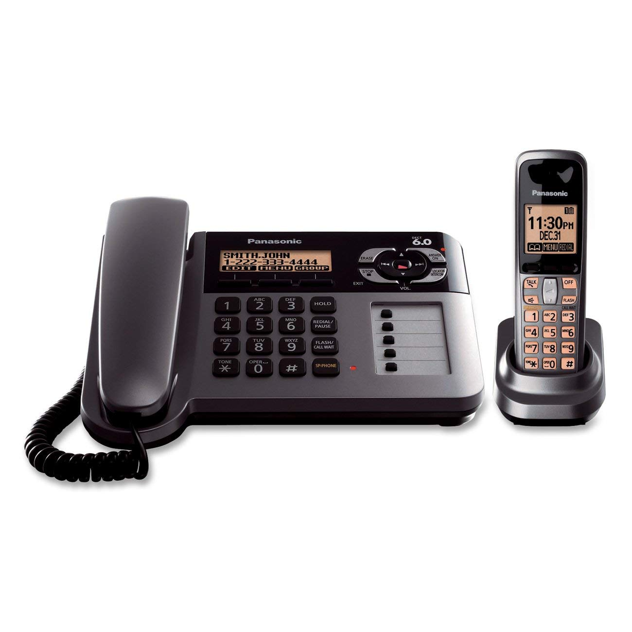 Panasonic KX-TG1061M Cordless Corded Phone with Answering Machine