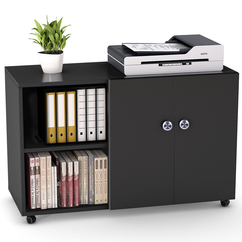 LITTLE TREE Mobile Lateral Filing Office Cabinet Open Shelf for Home Office
