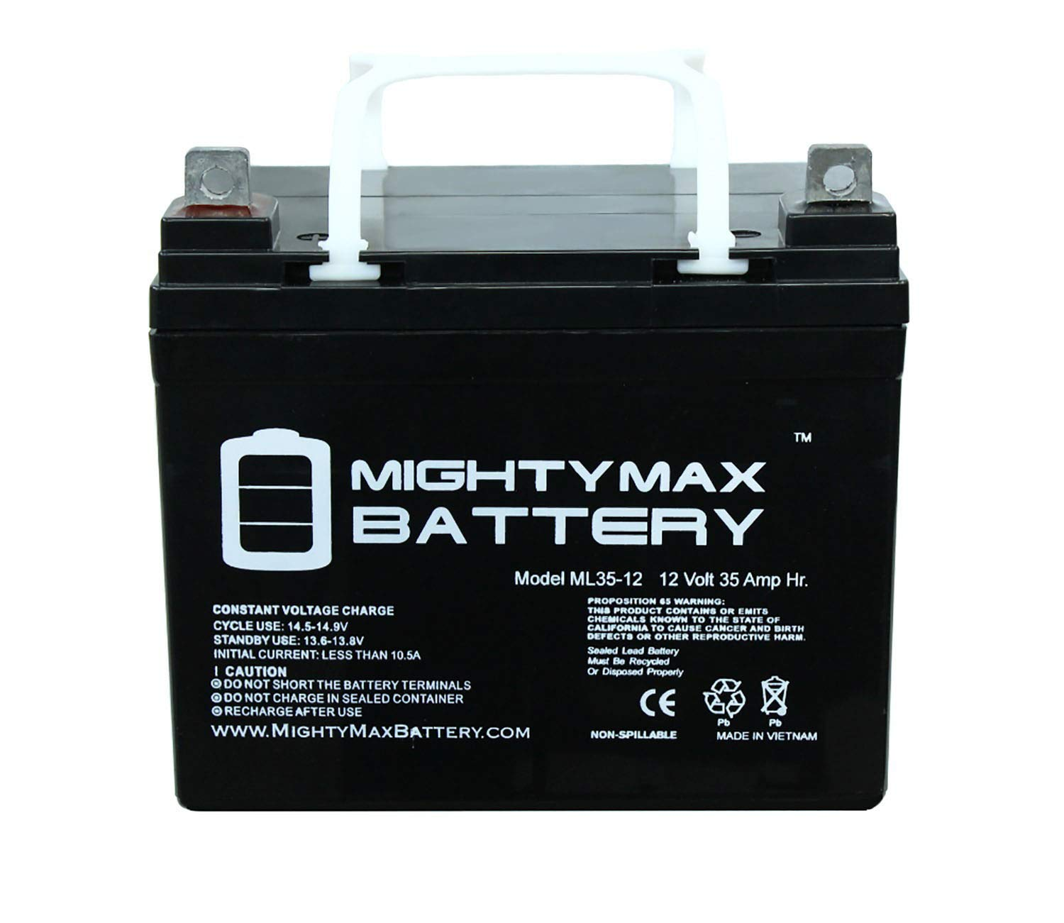 Mighty Max Battery ML35-12 - 12V 35AH U1 Deep Cycle AGM Solar Battery Replaces
