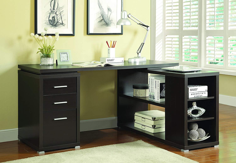 Coaster L Shaped Computer Desk in Cappuccino